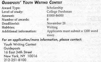 Youth writing contests